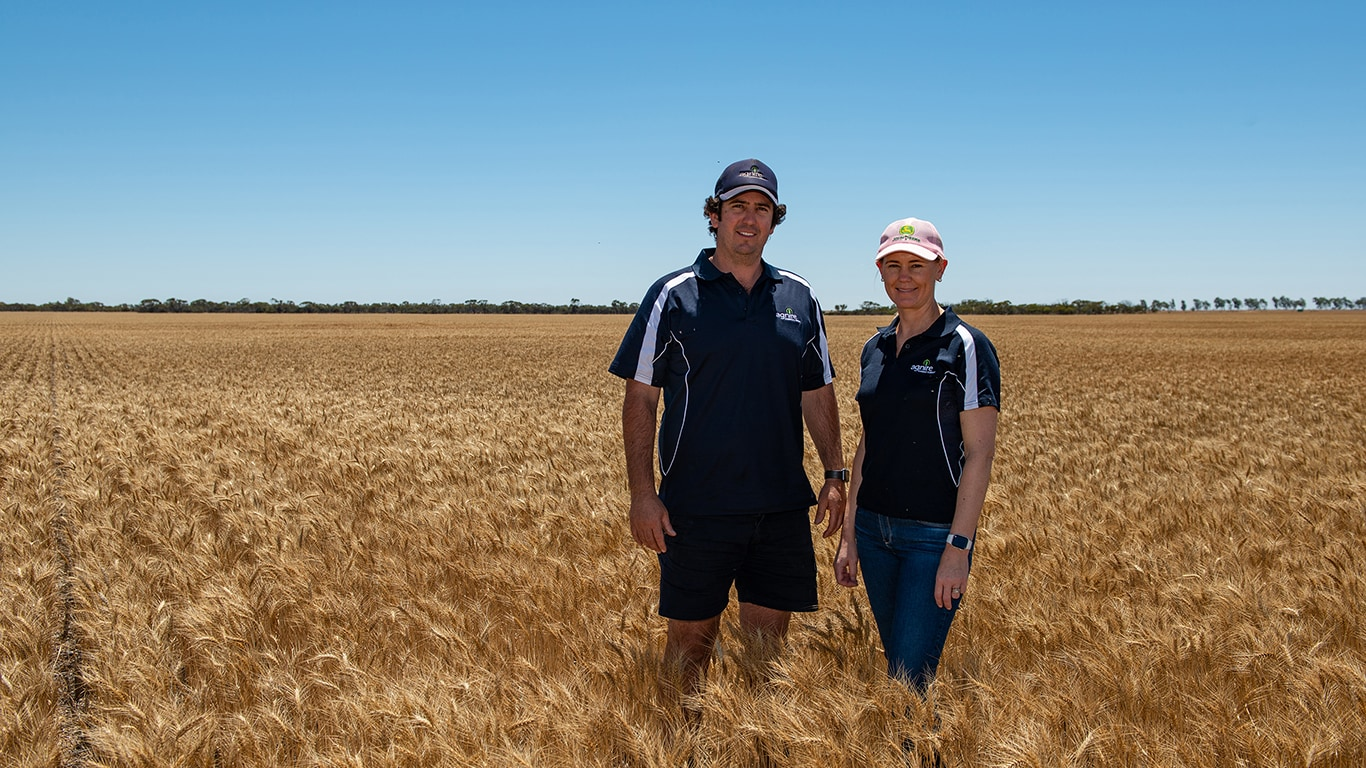 Brett and Kirrilee Warr run Agnire Farming