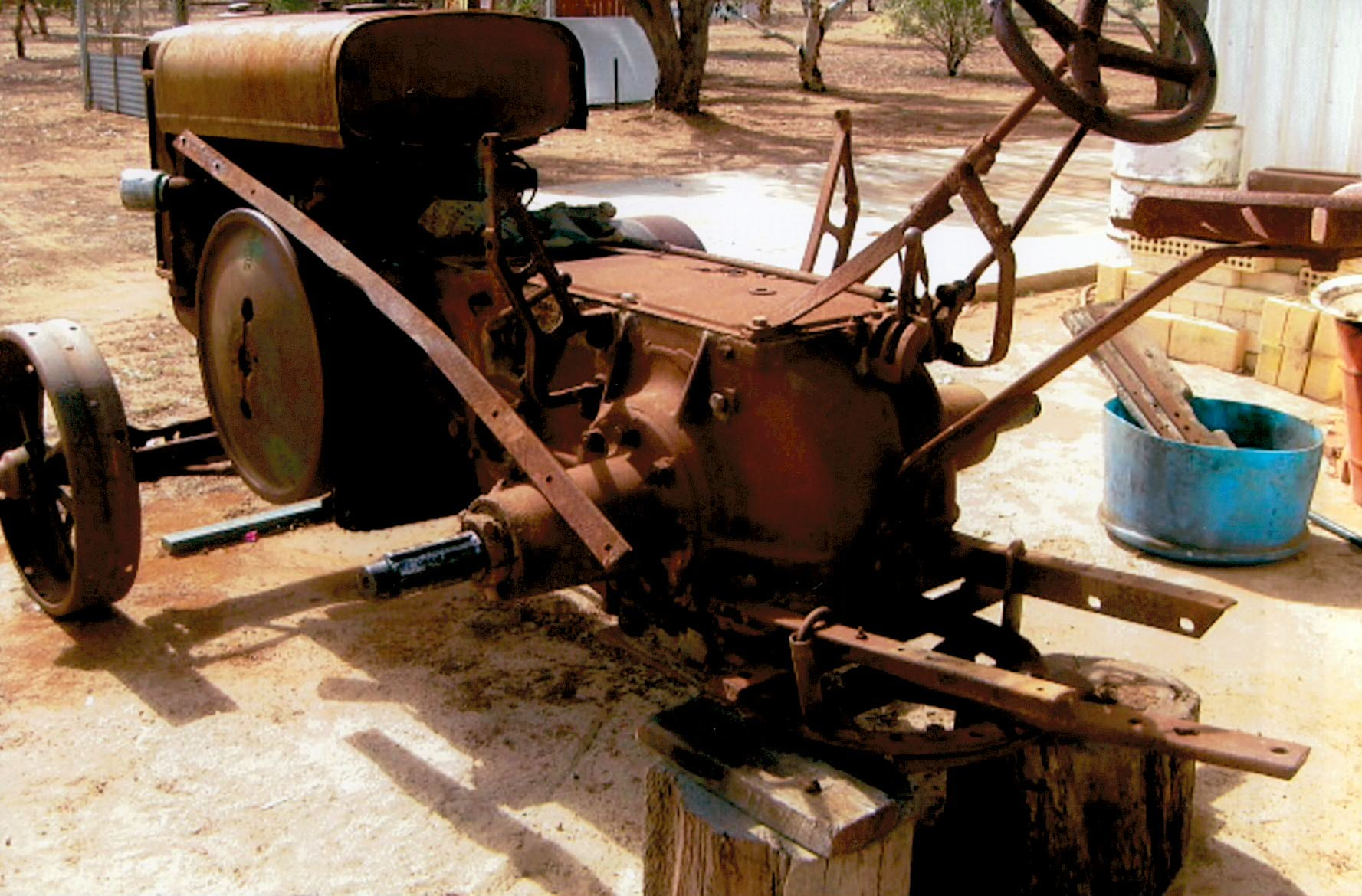 Model D Tractor stripped down for restoration