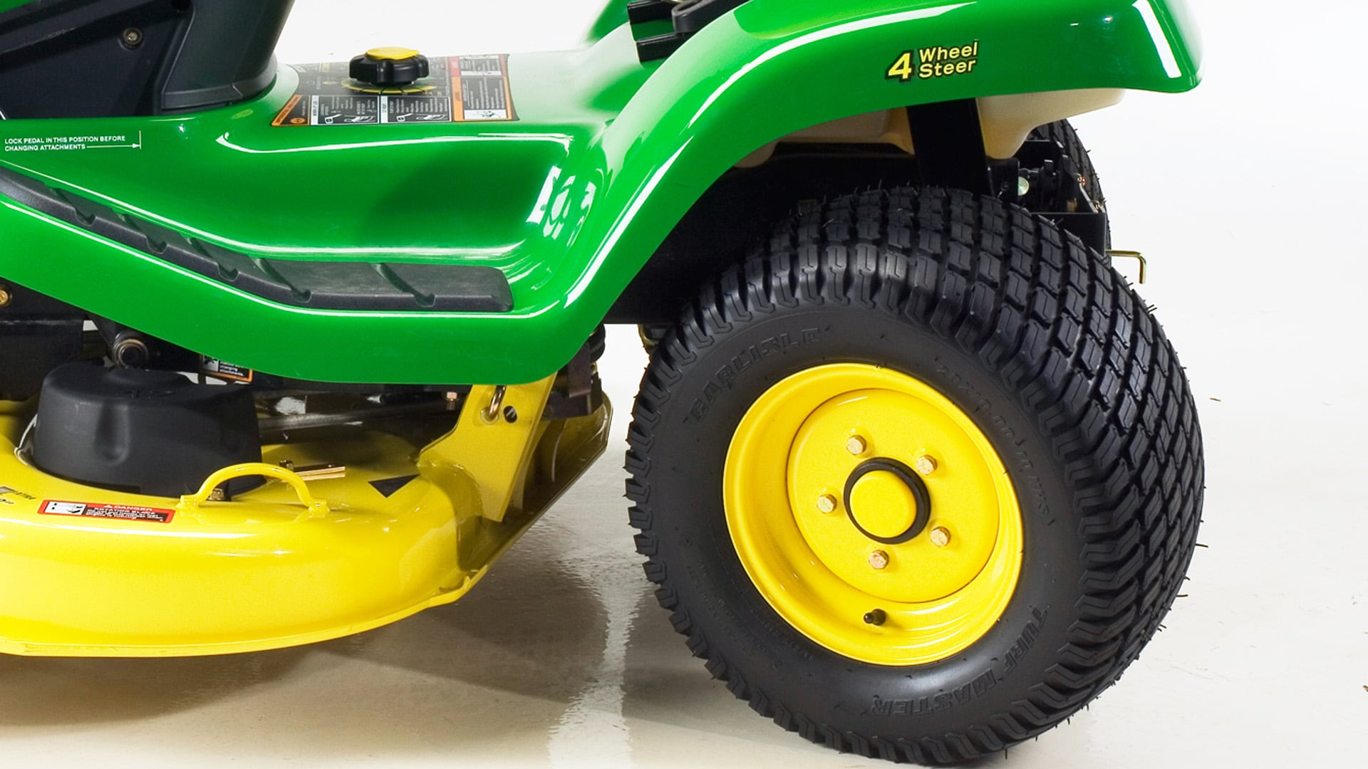 close up of rear wheels on tractor