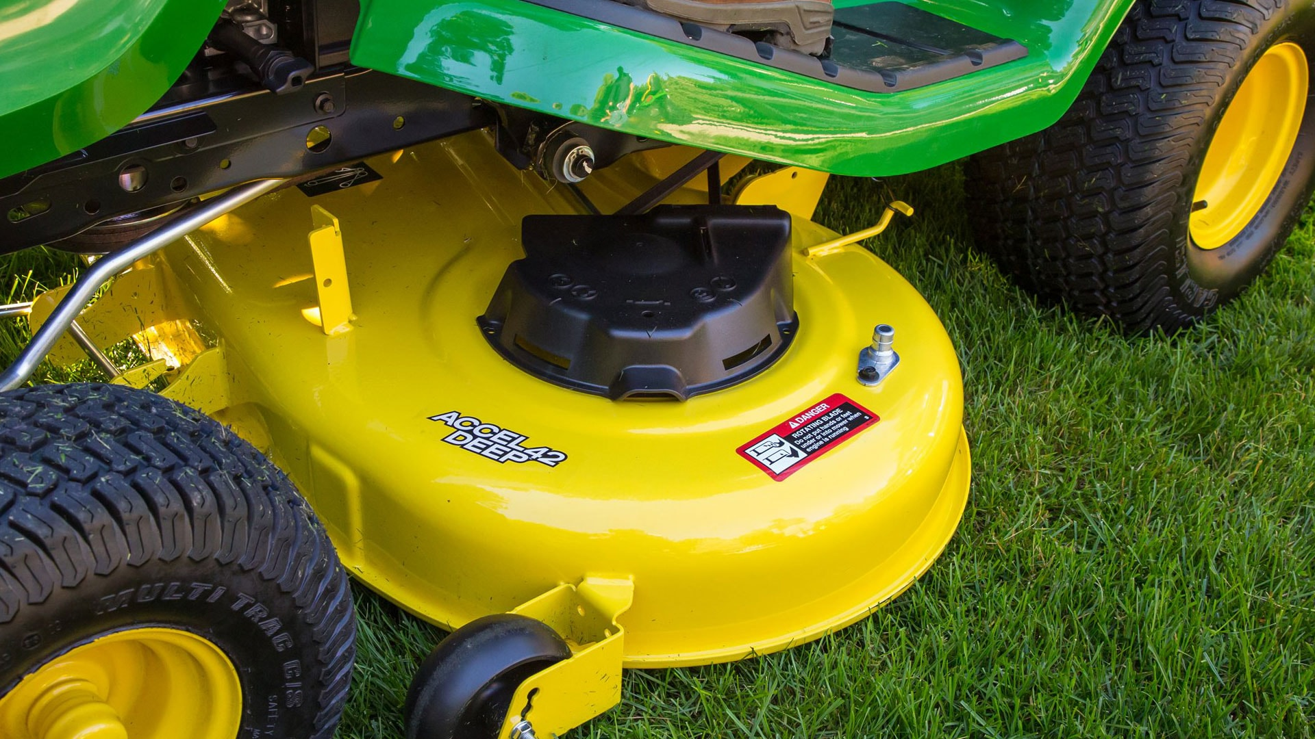 Closeup shot of mower deck